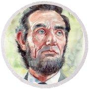 Abraham Lincoln Portrait Round Beach Towel