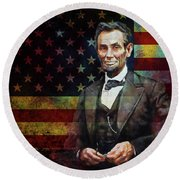 Abraham Lincoln The President  Round Beach Towel by Gull G
