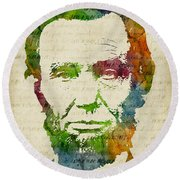 Abraham Lincoln Watercolor Round Beach Towel