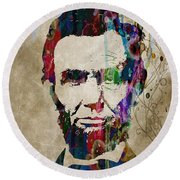 Abraham Lincoln Watercolor Modern Abstract Pop Art Color Round Beach Towel