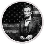 Abraham Lincoln With American Flag  Round Beach Towel by Gull G