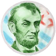Round Beach Towel featuring the drawing Abraham Lincoln  by Yoshiko Mishina