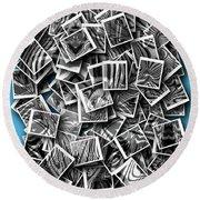 Round Beach Towel featuring the digital art Abraxas Collage by Visual Artist Frank Bonilla