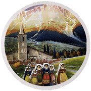 Abruzzo Italy Travel Poster 1920 Round Beach Towel