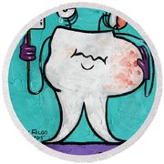 Round Beach Towel featuring the painting Abscessed Tooth by Anthony Falbo