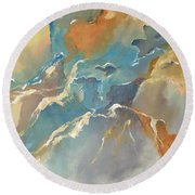 Round Beach Towel featuring the painting Abstract #04 by Raymond Doward