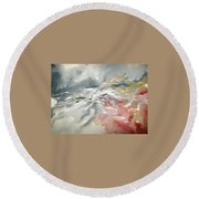 Round Beach Towel featuring the painting Abstract #06 by Raymond Doward