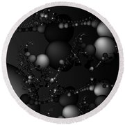 Abstract 119 Bw Round Beach Towel