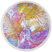 Round Beach Towel featuring the painting Abstract 2 by Tracy Bonin