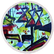 Abstract-27 Round Beach Towel