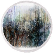 2f Abstract Expressionism Digital Painting Round Beach Towel