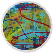Abstract 2_untitled Round Beach Towel