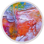Round Beach Towel featuring the painting Abstract 3 by Tracy Bonin