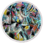 Abstract 301 - Encaustic Round Beach Towel