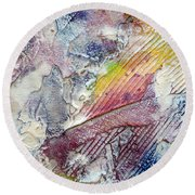 Round Beach Towel featuring the painting Abstract 4 by Tracy Bonin
