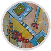 Abstract 74 Round Beach Towel