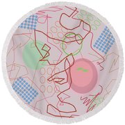 Abstract 8 Pink Round Beach Towel
