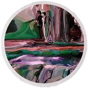 abstract A Time And A Different Place  Round Beach Towel