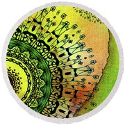 Round Beach Towel featuring the painting Abstract Acrylic Art The Garden by Saribelle Rodriguez