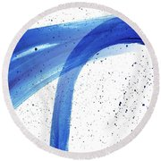 Abstract Acrylic Painting Blues Series 4 Round Beach Towel