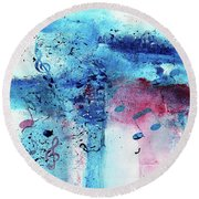 Abstract Acrylic Painting Music Notes II Round Beach Towel