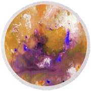 Abstract Acrylic Painting Purple  Round Beach Towel