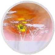 Abstract African Landscape Round Beach Towel