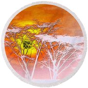 Round Beach Towel featuring the photograph Abstract African Landscape by Robert G Kernodle
