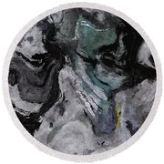 Round Beach Towel featuring the painting Abstract And Minimalist Acryling Painting In Gray Color by Ayse Deniz