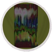 Abstract - Another View Of The City Round Beach Towel by Lenore Senior