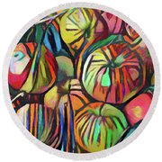 Abstract Apples Round Beach Towel