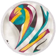 Abstract Art 105 Round Beach Towel