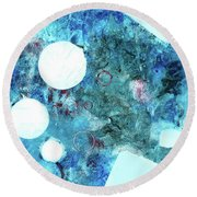 Abstract Art Blue Round Beach Towel