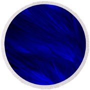 Abstract Art - Feathered Path Blue By Rgiada Round Beach Towel by Giada Rossi