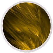 Abstract Art - Feathered Path Gold By Rgiada Round Beach Towel by Giada Rossi