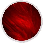 Abstract Art - Feathered Path Red By Rgiada Round Beach Towel by Giada Rossi