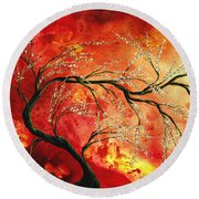 Abstract Art Floral Tree Landscape Painting Fresh Blossoms By Madart Round Beach Towel