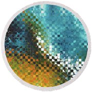 Round Beach Towel featuring the painting Abstract Art - Pieces 9 - Sharon Cummings by Sharon Cummings
