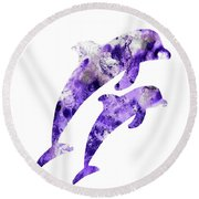 Abstract Art Purple Dolphins Round Beach Towel