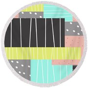 Abstract Art Stripes And Dots Round Beach Towel