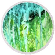 Abstract Art Waterfall Round Beach Towel