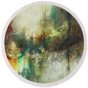 Abstract Art With Blue Green And Warm Tones Round Beach Towel