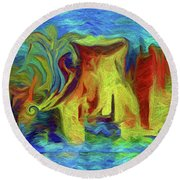 Abstract Artgo With The Flow Round Beach Towel