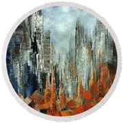 Round Beach Towel featuring the painting Abstract Autumn by Tatiana Iliina
