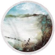 Abstract Barbwire Pasture Landscape Round Beach Towel by Michele Carter