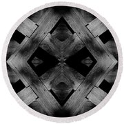 Round Beach Towel featuring the photograph Abstract Barn Wood by Chris Berry