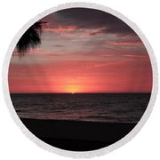 Abstract Beach Palm Tree Sunset Round Beach Towel