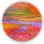 Abstract Beyond The Sea Round Beach Towel