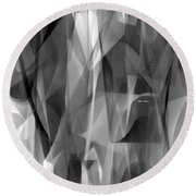 Round Beach Towel featuring the digital art Abstract Black And White Symphony by Rafael Salazar