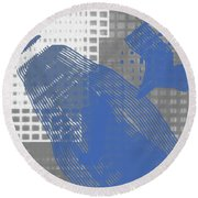 Abstract Blue And Grey 1 Round Beach Towel